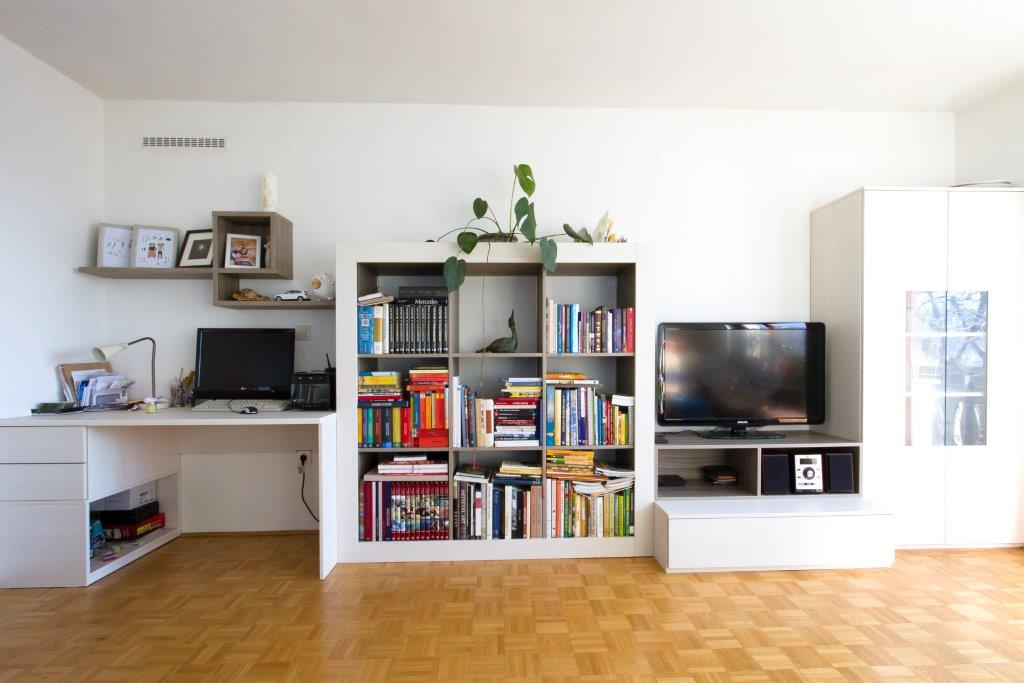 Wohnzimmer Wohnwand Regal Schrank Vitrine Schreibtisch Mobel
